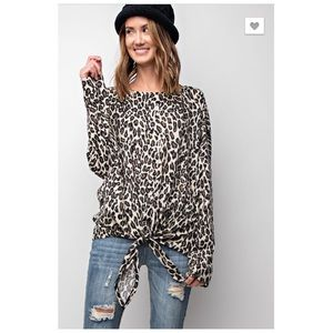 Leopard Print Tie Front Knit Shirt Medium & Large